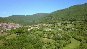 The view of the green trees on the mountain in Petrello Salto. In Italy with the concrete houses in the center stock video