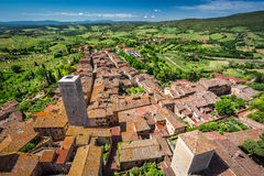 View of a green valley in San Gimignano Stock Photography
