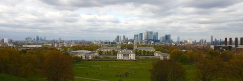 View from Greenwich park looking at London Royalty Free Stock Image