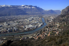 View of Grenoble from the Bastille. River and mountains. Panoramic view of Grenoble from the Bastille. Winter Stock Images