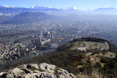 View of Grenoble and Bastille from the top of the mountain. France Royalty Free Stock Images