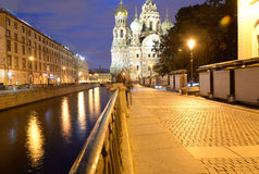 View of the Griboyedov Canal at night. Stock Photography