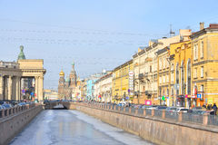 View of Griboyedov Canal in St Petersburg. Royalty Free Stock Images