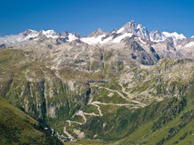 View of Grimsel high mountain pass, Switzerland. View of Grimsel high mountain pass, Alps Switzerland Royalty Free Stock Photography