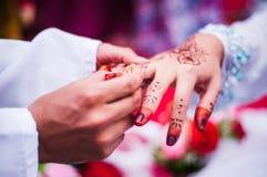 Wearing the wedding ring Royalty Free Stock Image