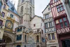 Architecture of Rouen. View on The Gros-Horloge. An astronomical clock in Rouen, France Royalty Free Stock Photos