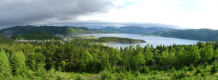 View of Gros Morne National Park from Partridgeberry Hill. Panoramic View of Gros Morne National Park from Partridgeberry Hill above the village of Norris Point Royalty Free Stock Image