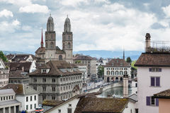 View of Grossmünster from Lindenhof, Zürich Stock Photography
