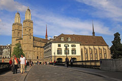 View on Grossmuenster and Limmat river bridge in Zurich, Switzer Royalty Free Stock Images