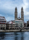 View of the Grossmunster cathedral in Zurich - 1 Royalty Free Stock Photography