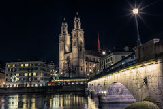 View of the Grossmunster cathedral in Zurich Royalty Free Stock Photography