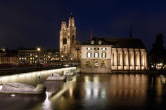 View on Grossmunster Church and Munsterbrucke Bridge Royalty Free Stock Photos