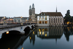 View on Grossmunster Church and Zurich Downtown Royalty Free Stock Image