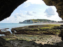 View from grotto on Etretat village Stock Photography
