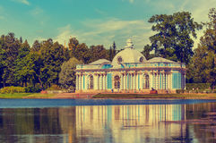 View of 'Grotto' Pavilion in Catherine park in summer day Stock Images