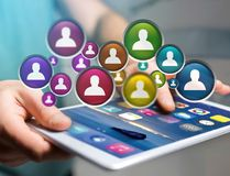 Group of contact icon displayed on a technology interface background - Network and communication concept stock image