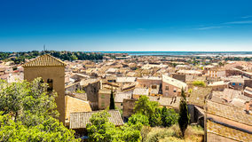 View of Gruissan in southern France. In the background the salt fields of the mediterranean sea royalty free stock image