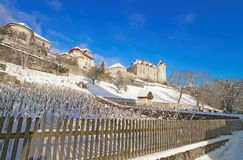 View of the Gruyere castle in winter Royalty Free Stock Photography