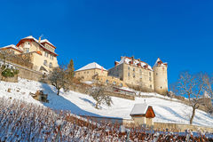 View of the Gruyeres castle on a sunny winter day Royalty Free Stock Images