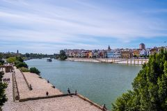 May 2019 View of Guadalquivir river in Seville, Spain. View Guadalquivir river in Seville, Spain royalty free stock photo