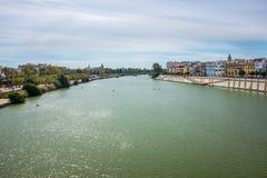 View of Guadalquivir river in Seville, Spain. View Guadalquivir river in Seville, Spain royalty free stock photo