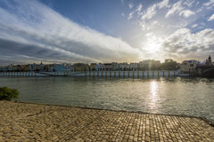 View of Guadalquivir river and Triana district in Sevilla, Andalusia, Spain.  royalty free stock photos