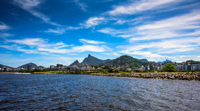 View of Guanabara Bay at sunny day with Christ the Redeemer on the background, Rio De Janeiro stock photography