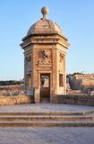 The view of the Guard tower from the Gardjola Gardens, Senglea Royalty Free Stock Photos