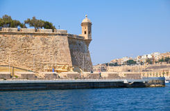 The view of the Guard tower on the tip of the bastions. Malta. Royalty Free Stock Images