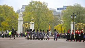 View of guards changing in Buckingham Palace stock video