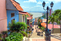 View of Guayaquil, Ecuador. View of the Las Penas neighborhood on Santa Ana Hill in Guayaquil, Ecuador Stock Photo