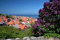View of Gudhjem on Bornholm. Denmark royalty free stock photos