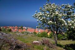 View of Gudhjem on Bornholm stock photo