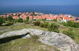 View of Gudhjem of elevated viewpoint on Bornholm stock photo