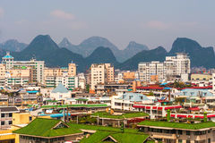 View of the Guilin city and the Karst mountains at the backgroun Royalty Free Stock Images