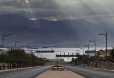 View on the gulf of Aqaba from Eilat city, Israel Royalty Free Stock Photography