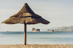 View on the gulf of Aqaba from the northern beach of Eilat Stock Photos