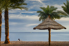 View on the gulf of Aqaba from sandy beach of Eilat Royalty Free Stock Image
