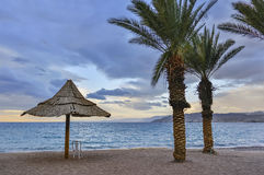 View on the gulf of Aqaba from sandy beach of Eilat Royalty Free Stock Photo