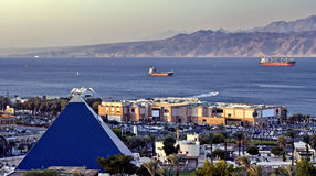 View on Gulf of Aqaba and shopping center, Eilat Stock Photography