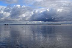 View on Gulf of Finland in autumn season. Rainy weather royalty free stock image