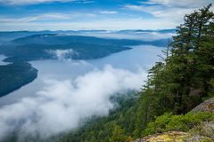 View of the Gulf Islands from Saltspring Island`s Mount Maxwell Provincial Park. British Columbia, Canada Stock Photos