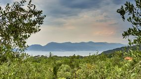View At the Gulf of La Spezia, Liguria Italy from Montemarcello royalty free stock photo