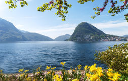View of the Gulf of Lugano Stock Image