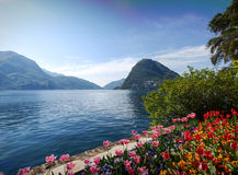 View of the Gulf of Lugano Royalty Free Stock Image