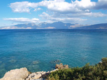 View of the Gulf of Mirabello. Greece, Crete - Gulf of Mirabello. Blue Mediterranean seascape on a hot summer day royalty free stock photo