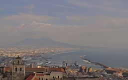 View of the Gulf of Naples from Castel Sant`Elmo stock images