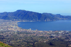 View of Gulf of Naples Italy. Gulf of Naples and Pompeii from Vesuvius volcano Italy Stock Images