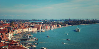 View on the Gulf of Venice from Campanile of Florence Cathedral. Roofs of Venice from belfry. Aerial view of Venice city from the top of the bell tower at the Royalty Free Stock Photo
