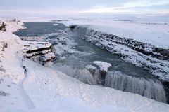 Iceland Travel. A view of the Gulfoss waterfall, located in the canyon of Hvita river in southwest Iceland Stock Photos